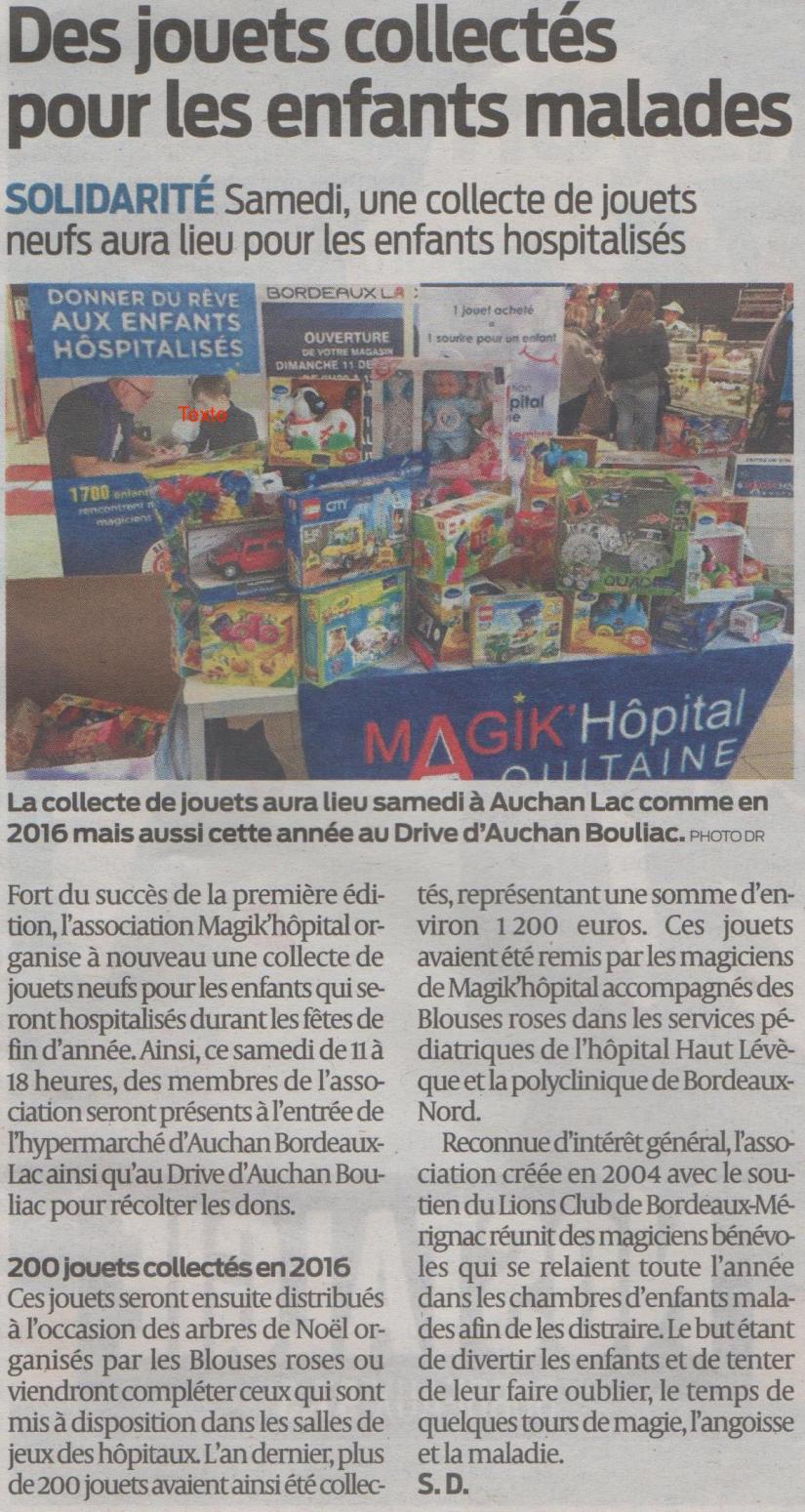 Articlesud ouest 07 12 2017 Collecte de jouets magik hopital